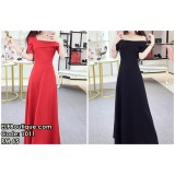 1011 One-shoulder Dinner Long Dress (Red Black)