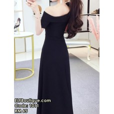 1011 One-shoulder Dinner Long Dress (Red Black)