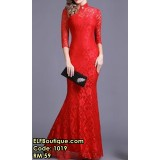 1019 Spring Lace Stretchable Slim Fit Cheongsam Collar Long Dress (RED WHITE GREEN BLACK)