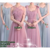 1201 Autumn Grey Pink Bridesmaid Sisters Long Dress