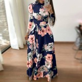 7419 Muslimah Floral Maxi Dress Light Blue/ Navy/ Black
