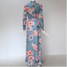 7419 Muslimah Floral Maxi Dress Light Blue/ Navy/ Black