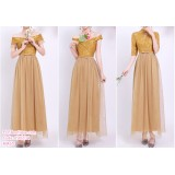 190204 Gold Bridesmaid Dress Dinner Evening Gown Long Dress