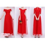 190205 Red Bridesmaid Dress Dinner Evening Gown Long Dress