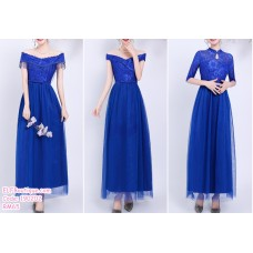 190202 Blue Bridesmaid Dress Dinner Evening Gown Long Dress