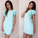 190211 2019 Summer Lotus Leaf Casual Dress Blue White Rose Red
