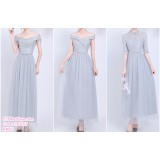 190207 Grey Bridesmaid Dress Dinner Evening Gown Long Dress