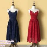 190342 European Lacey Backless Strap Long Midi Evening Dinner Dress Navy Red