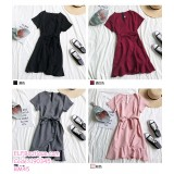 190345 Spring Summer Korean Irregular V-neck Short Sleeve Ruffle Wrapped Fishtail Dress
