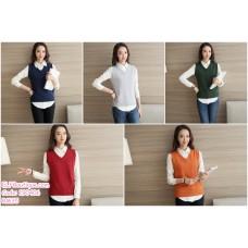 190406  Korean Woman V-neck  Sleeveness Sweater Jacket