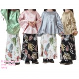 190415 Muslim Baby Girl Long Bat Sleeve Top Skirt Two Pieces Suit Set