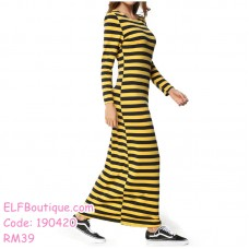 190420  European Woman Leisure Long Sleeve Round Neck Stripe Knitted Dress