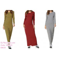 190420  European Woman Leisure Long Sleeve Round Neck Stripe Knitted Dress
