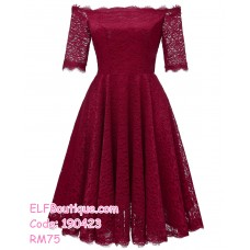190423 European Lacey Off-shoulder Mini Evening Dinner Dress