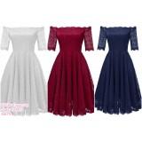 190423 European Lacey Off-shoulder Mini Evening Dinner Dress