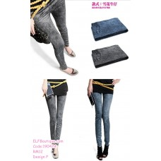 190424 Woman Imitation Jeans Elastic Thin Slim Ankle Leggings