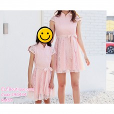 190434 Woman Lacey Ribbon Stand Collar Mini Dress Pink