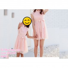 190435 Baby Girl Lacey Ribbon Stand Collar Mini Princess Dress Pink