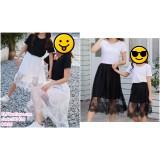 190436 Woman Lacey Elastic Waist Midi Tulle Skirt Black White
