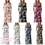 2192d106c9c4 190506 European Round Neck Long Sleeve Floral Maxi Dress