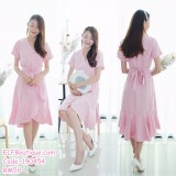 190454 Korean V-neck Ruffle Wrapped Fishtail Midi Dress
