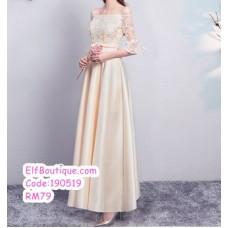 190519 Champagne Bridesmaid Maxi Dress Premium Custom Made