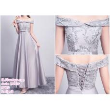 190519 Grey Bridesmaid Maxi Dress Premium Custom Made