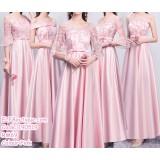190519 Pink Bridesmaid Maxi Dress Premium Custom Made