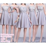 190520 Grey Bridesmaid Mini Dress Premium Custom Made