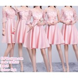 190520 Pink Bridesmaid Mini Dress Premium Custom Made