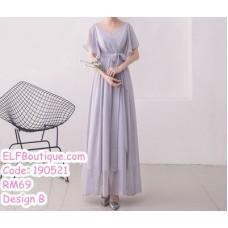 190521 Grey Chiffon Bridesmaid Maxi Dress Premium Custom Made