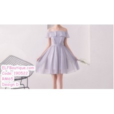 190522 Grey Chiffon Bridesmaid Mini Dress Premium Custom Made