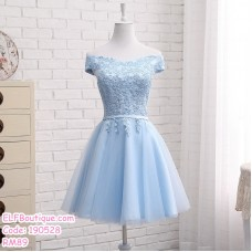 190528 Blue Off-shoulder Bridesmaid Mini Dress Premium Custom Made