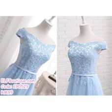 190529 Blue Off-shoulder Bridesmaid Midi Dress Premium Custom Made