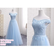 190530 Blue Off-shoulder Bridesmaid Maxi Dress Premium Custom Made