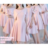 190534 Korean Pink Bridesmaid Dinner Evening Mini Dress Premium Custom Made