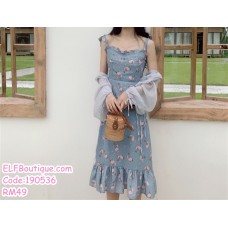 190536 Blue Ribbon Strap Square Neck Floral Midi Dress