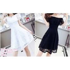 190537 Off-shoulder Ruffle Lacey Mini Dress Black White