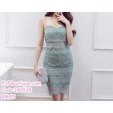 190538 Korean Woman Strap Lacey Midriff  Two Pieces Mini Dress