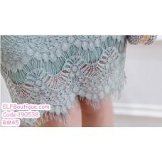 190538 Korean Woman Strap Lacey Midriff  Two Pieces Mini Dress
