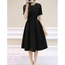 190539 Korean Woman Dinner Evening Dress Black