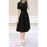 190541 Korean Short Sleeve Round Neck Dinner Evening Midi Dress Black