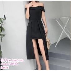 190542 Korean Off-shoulder Dinner Evening Midi Dress Black