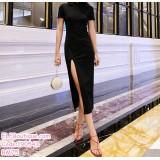 190543 Chinese Traditional Split Cheongsam Dinner Evening Midi Dress Black