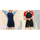 190551 Korean Woman Short Sleeve One Pieces Sport Swimsuit Beachwear
