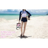 190553 Korean Woman Long Sleeve Midriff  Two Pieces Sport Swimsuit Beachwear Blue