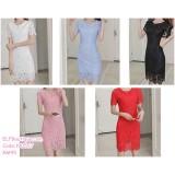190557 Korean Woman Round Neck Short Sleeve Hollow Lacey Mini Dress