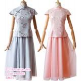 190558 Woman Chinese Short Sleeve Bridesmaid Maxi Two Pieces Dress Cheongsam