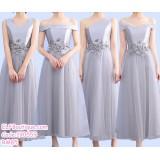 190559 Grey Tulle Bridesmaid Evening Dinner Midi Dress