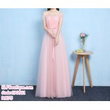 190561 Pink Off-shoulder Tulle Bridesmaid Evening Dinner Maxi Dress